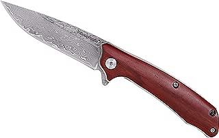 JohnnyJamie Brand Spadger Folding Knife Pocket Damascus Steel Blade with Wood Handle Small EDC Knifes
