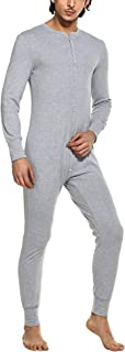 Hotouch Men's Long Thermal Union Suit Button Down Pajamas S-XXL