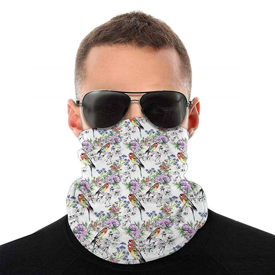 プログレッシブ狂った申請者Multifunctional Bandana Face Cover 多機能バンダナフェイスカバー,Watercolor Style Flower Composition With Birds Of Many Colors Exotic Fau...