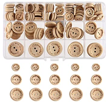 "FEPITO Handmade""with Love"" Wooden Button for Sewing Craft Decorations 15mm 20mm 25mm Round Shape"