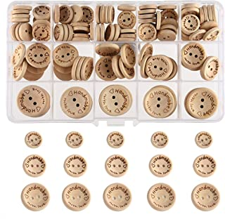 FEPITO fait à la main avec amour bouton en bois 15mm 20mm 25mm forme ronde boutons en bois pour la couture et l'artisanat ...