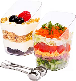 Mini Dessert Cups with Spoons - 3 Ounce, 40 Count - Premium Clear Plastic   Disposable Appetizer Bowls   Perfect for Weddings & Parties (40)