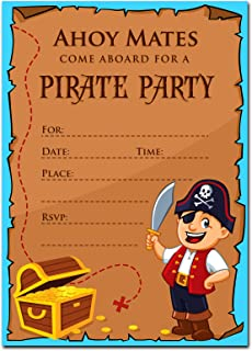 30 Pirate Birthday Invitations with Envelopes (30 Pack) - Kids Birthday Party Invitations for Boys or Girls