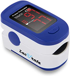 Zacurate 500BL Fingertip Pulse Oximeter Blood Oxygen Saturation Monitor with Batteries and Lanyard Included (Navy Blue)