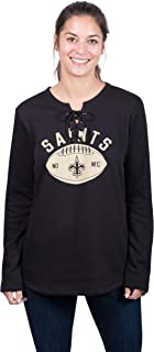 Icer Brands NFL New Orleans Saints Women's Fleece Sweatshirt Lace Long Sleeve Shirt, Large, Black