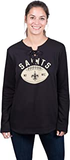 Icer Brands NFL New Orleans Saints Women's Fleece Sweatshirt Lace Long Sleeve Shirt, Large, Black
