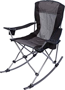 REDCAMP Folding Rocking Chairs Outdoor Heavy Duty, Comfortable High Back Zero Gravity Patio Lawn Chair, Portable for Outside