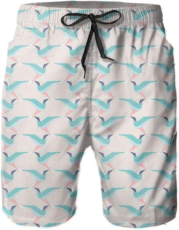 Birds Flying Pattern Geometric Contemporary Freedom Wings Design Mens Swim Trucks Shorts with Mesh Lining,M