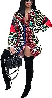 Womens Long Sleeve Deep V-Neck Ethnic Print Tunic Top Basic Blouse Polo T-Shirt