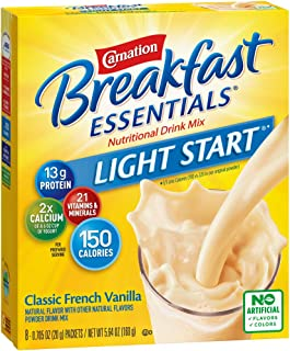 Carnation Breakfast Essentials Light Start Powder Drink Mix, Classic French Vanilla, 8 Packets (Pack of 8 Boxes) (Packagin...