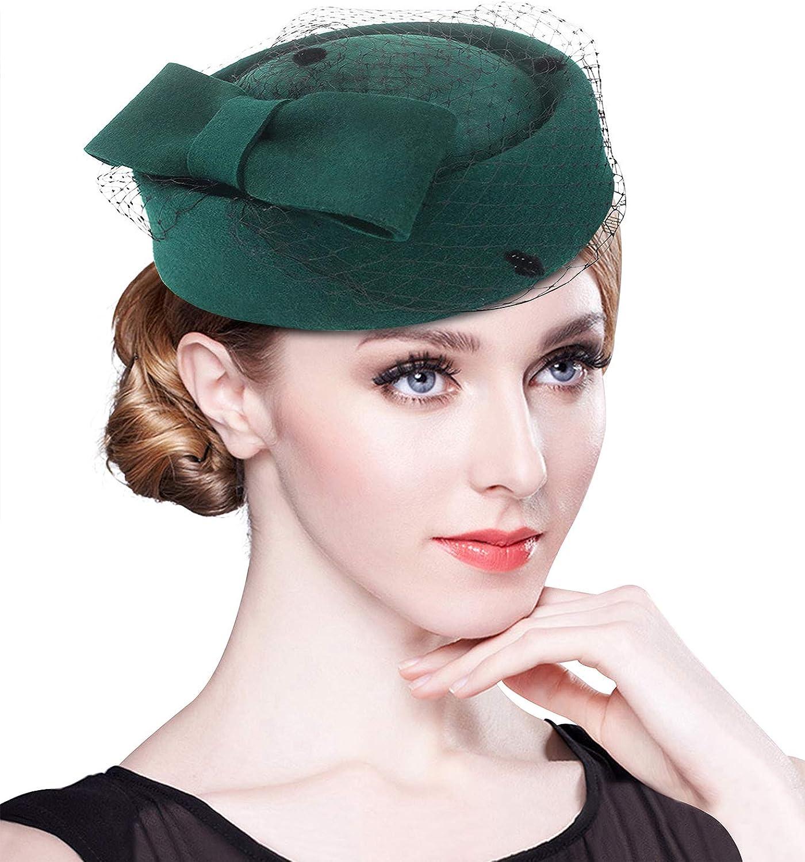 Z&X British Vintage Wool Felt Pillbox Hat Ladies Church Derby Winter Fascinator Hat Veil Flower Fedoras