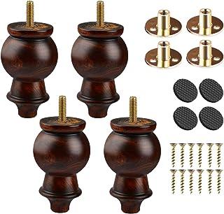 Btowin - Patas para muebles de madera maciza 4 piezas de esmalte torneado de madera con tornillos roscados de 5/16 pulgad...
