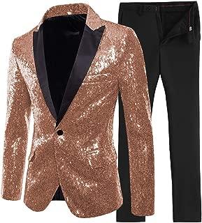 2 Pieces Shiny Sequin Mens Suit Slim Fit Peak Notch Lapel Tuxedo for Wedding Party(Blazer+Pants)