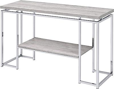 Acme Furniture Chafik Sofa Table, Natural Oak & Chrome