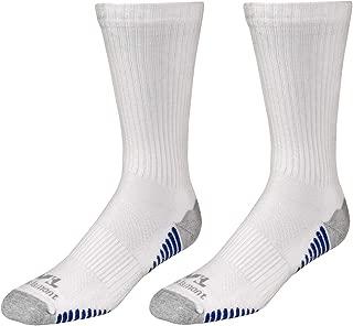 Men's White/Blue Performance Crew Work Socks, All Day Comfort, 2-Pair Pack, Large (Wells Lamont 8501L)