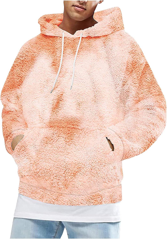 HONGJ Fluffy Hoodies for Mens, Fuzzy Cozy Hooded Sweatshirts Fall Drawstring Winter Home Sleepwear Warm Fleece Pullover