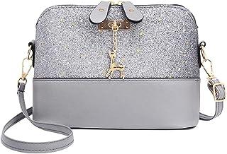 ueb-us Shell Shoulder Handbag Women Sequins Pu Leather Messenger Bag/