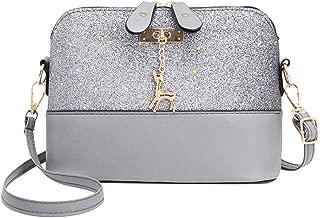 silverone Shell Shoulder Handbag Sequins Bag Handbag Purse Crossbody Messenger Bag with Deer Pandent/Grey