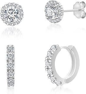MIA SARINE 2 Cttw Round Cubic Zirconia Stud & Hoop Earrings 2pc Set in 925 Sterling