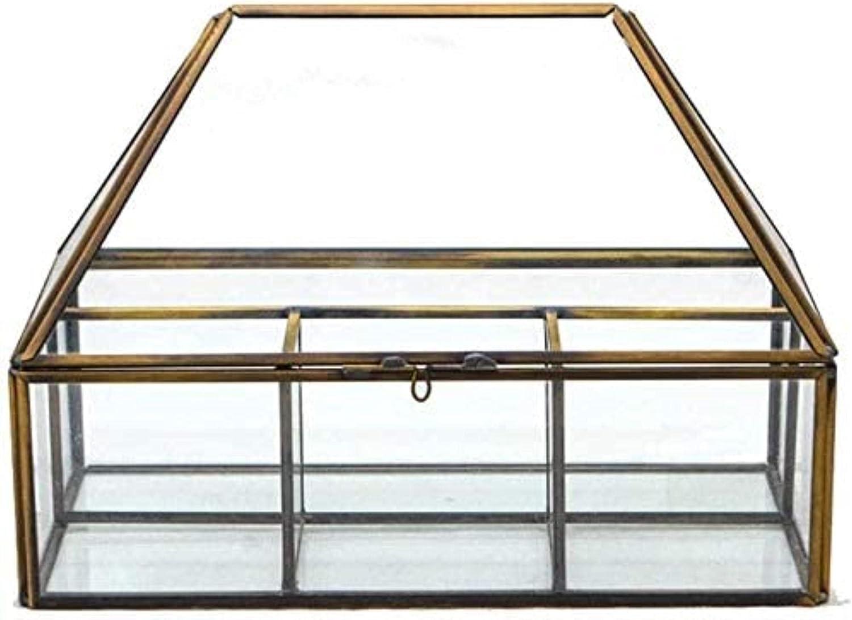 ZXCVBNN Transparent jewelry box glass gold OFFer European frame style Bargain sale