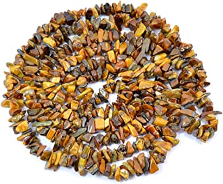 REBUY Brown Natural Stone Tiger Eye Crystal Necklace for Women