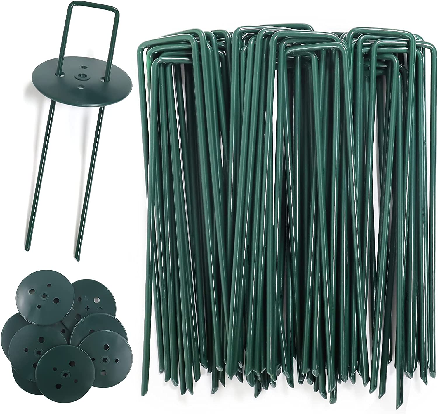 AGAKY Garden Securing Pegs, 45pcs Green Garden Steel U-Shaped Galvanized Netting Pegs with 10 Buffer Washer, Artificial Metal Grass Pegs for Weed Barrier Membrane, Weed Fabric, Weed Film, Garden Net