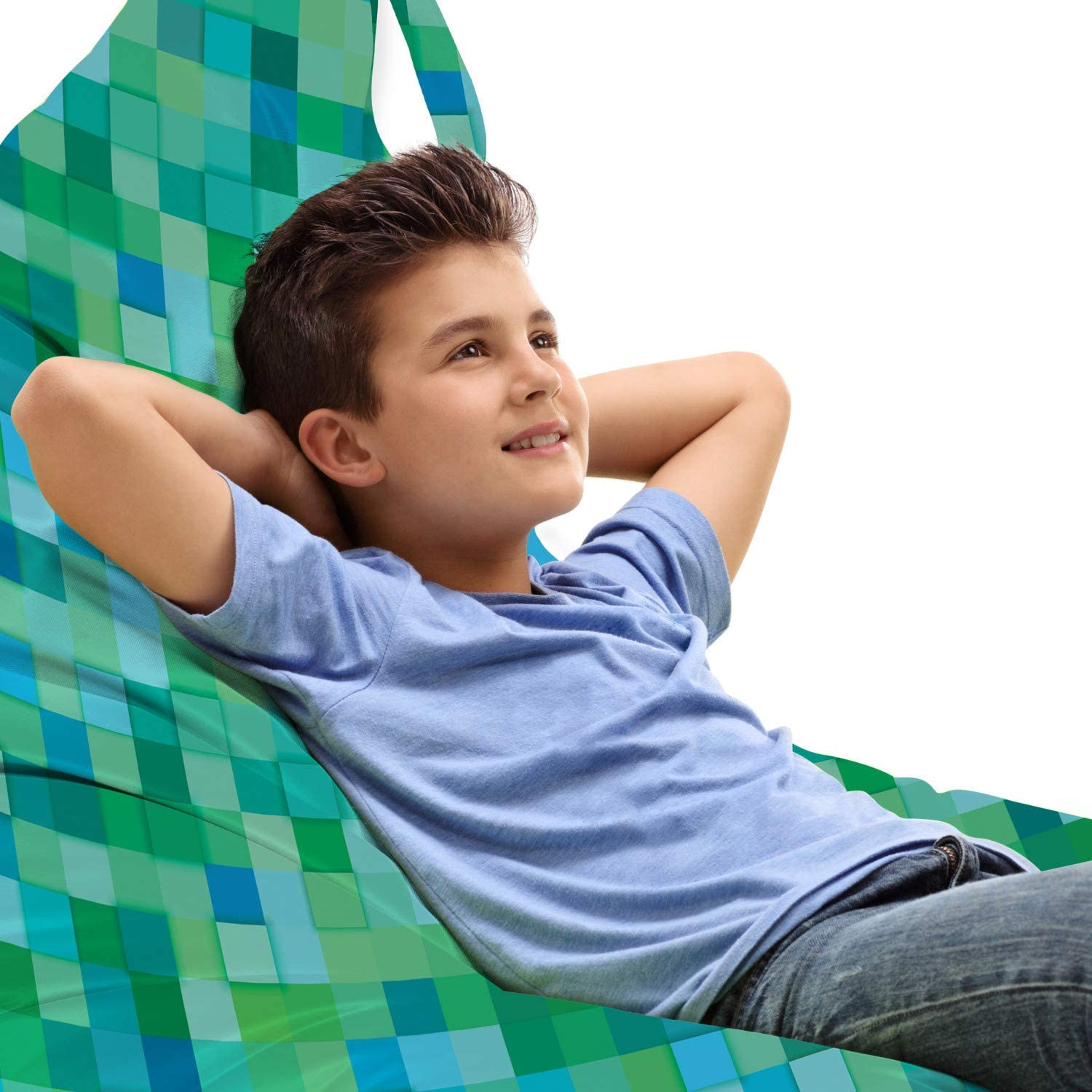 New popularity Ambesonne Teal Lounger Chair Bag Pattern Abstract Squar Cube 3D In stock
