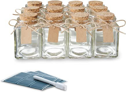Glass Favor Jars With Cork Lids 12pc Bulk Set Ideal For Spices 34oz
