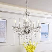 Riomasee Chandelier Modern Elegant K9 Crystal Glass Candle Chandeliers 5 Light Ceiling Light Fixture for Bedroom,Dining,Living Room