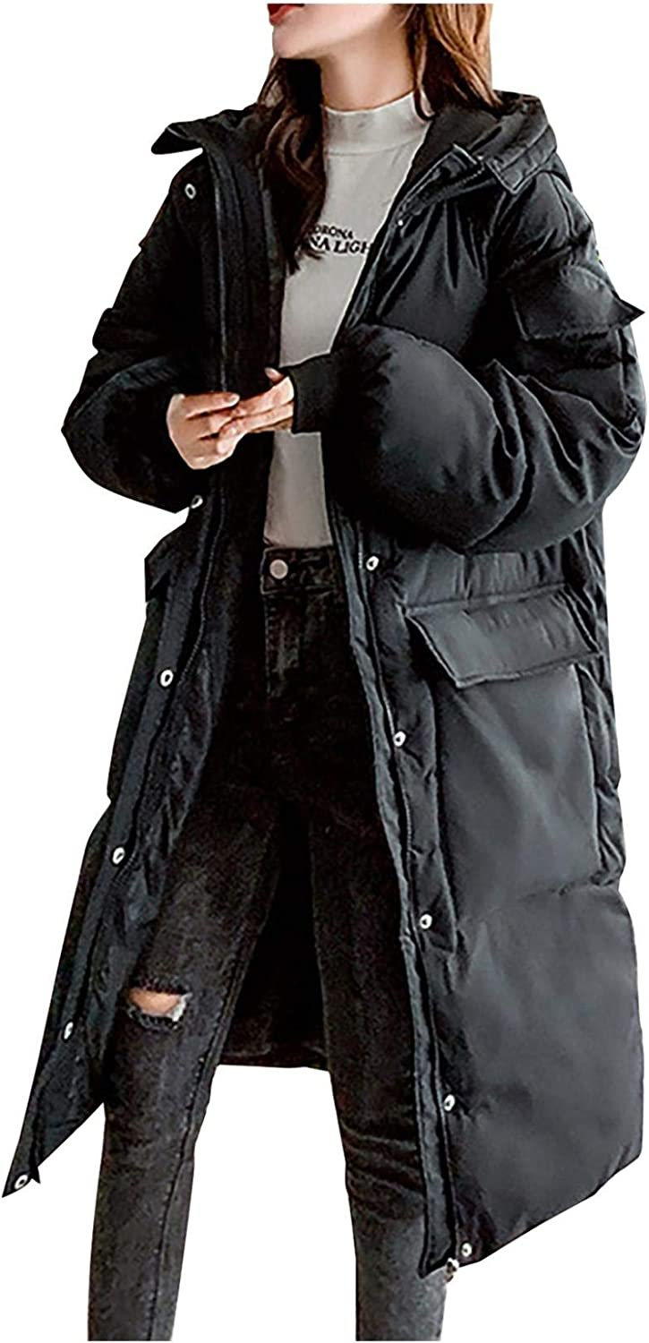Smileyth Women's Winter 5 ☆ very New Shipping Free Shipping popular Hooded Long Jacket L Thicken Cotton Warm