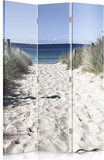 Feeby Frames Biombo Impreso sobre Lona, tabique Decorativo para Habitaciones, a una Cara, de 3 Piezas (110x150 cm), Playa, MAR, Blanco, Azul
