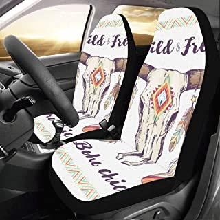 Head Ethnic Skull Boho Feather Custom New Universal Fit Auto Drive Car Seat Covers Protector for Women Automobile Jeep Truck SUV Vehicle Full Set Accessories for Adult Baby (Set of 2 Front)