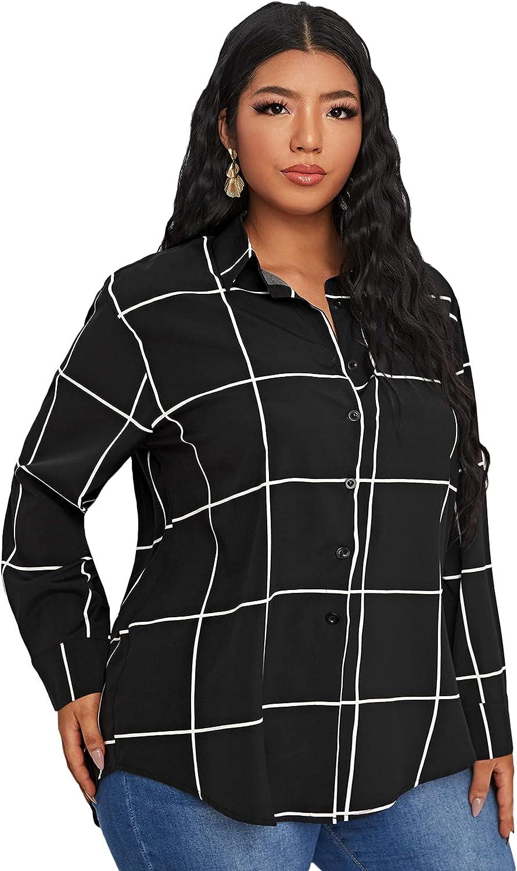 MakeMeChic Women's Plus Size Plaid Print Button Down Long Sleeve Blouse Shirt Top