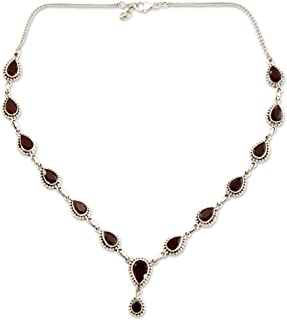 925 Sterling Silver and Garnet Y-Necklace, 17