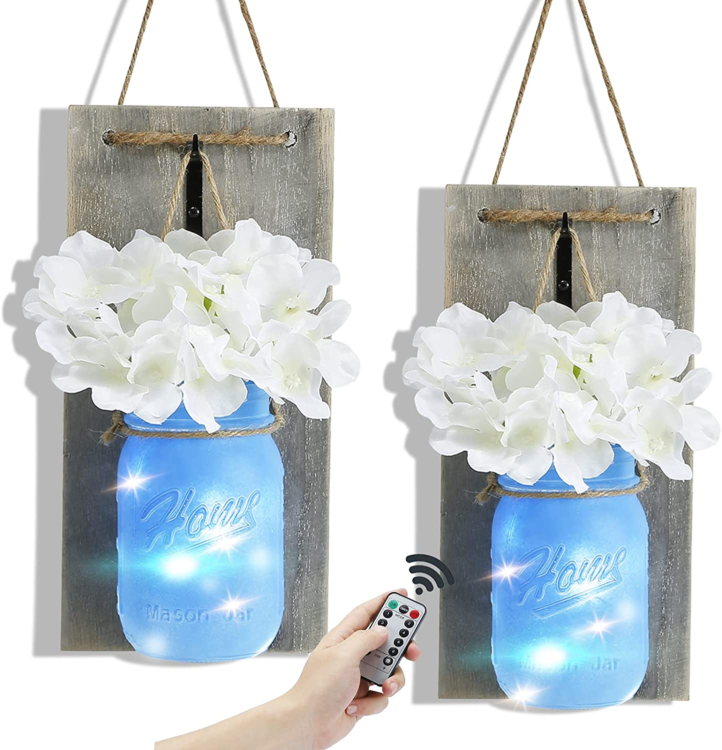 Rustic Wall Sconces Mason Jar Decorative,Home Decoration Wall Decor Handmade Hanging with 6 Hour Timer LED Fairy Lights and Flowers,Farmhouse Sconce Jars for Living Home Kitchen Decor Set of 2 (Blue)