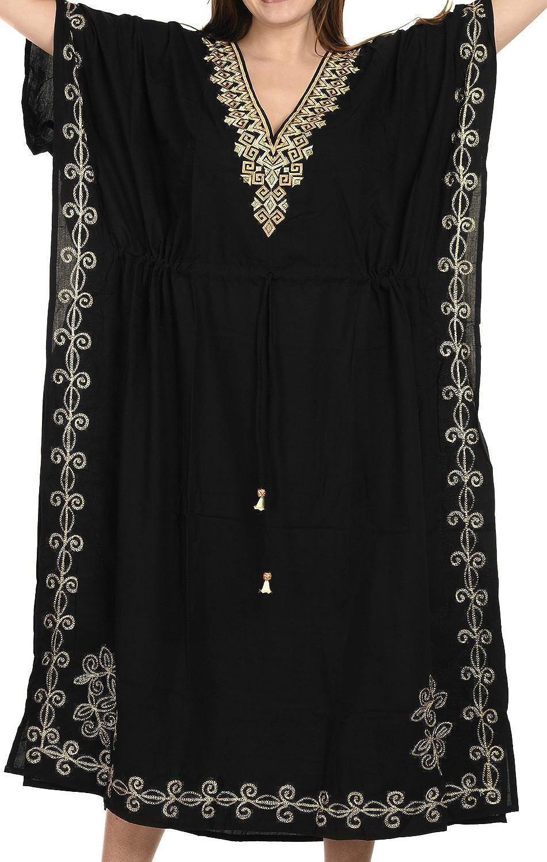 LA LEELA Women's Caftan Tunic Kimono Dress Summer Evening Party Embroidered