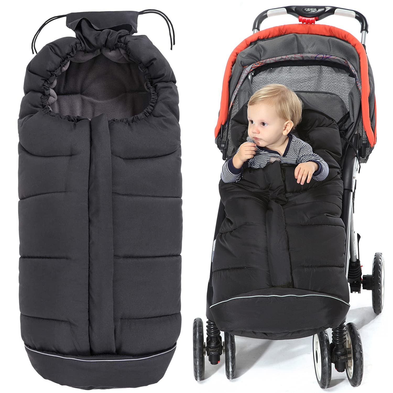 Orzbow Baby Stroller Footmuf-Warm Bunting Bag -Sleeping Bag (Black, Large)