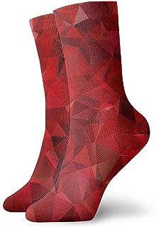 sky feng, Anime calcetines Granate Rojo Abstracto Fondo Polígono Super suave de secado rápido transpirable calcetines deportivos unisex de la tripulación calcetines de 30 cm