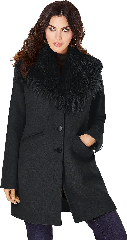 Roaman's Women's Plus Size Short Wool-Blend Coat