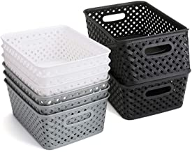 Bekith 9 Pack Woven Storage Basket, Plastic Organizer Tote Bin for Closet Organization, De-Clutter, Accessories, Toys, Cle...