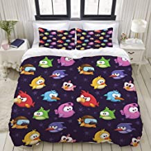 CANCAKA Duvet Cover Set, Angry Flying Birds Figure with Various Expressions Game Toy Kids Babyish Artsy, Custom 3 Piece Bedding Set with 2 Pillow Shams, Queen/Full Size