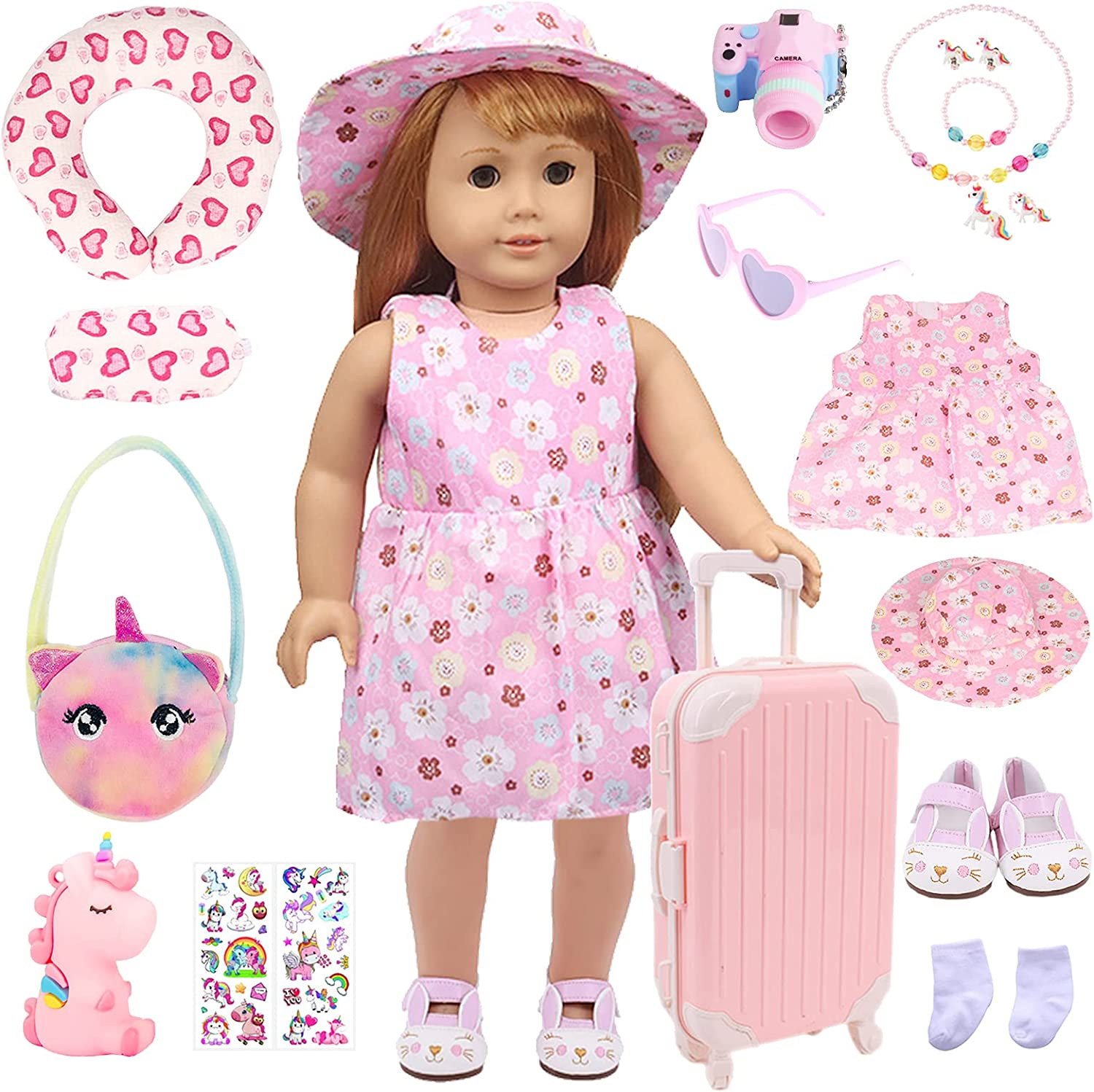 EIYOBYF Popularity 18 Pcs American Factory outlet Inch Set Luggage Suitcase Doll Travel