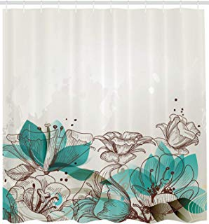 """Ambesonne Turquoise Shower Curtain, Retro Floral Background with Hibiscus Silhouettes Dramatic Romantic Nature Art, Cloth Fabric Bathroom Decor Set with Hooks, 84"""" Extra Long, Beige Teal"""