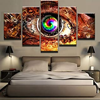 yzbz 5 Panel Movie Game Steam Punk Eye Wall Art Picture Home Decoration Living Room Canvas Print Wall Picture Printing On Canvas Poster-size2-Framed