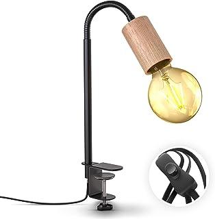 B.K.Licht lampe de lecture pivotante avec interrupteur à câble I borne à vis I E27 I lampe à pince I métal - bois I noir I...