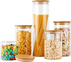 Glass Food Storage Jars Containers, Glass Storage Jar with Airtight Bamboo Lids Set of 5 Kitchen Glass Canisters For Coffe...