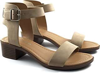 CITYCLASSIFIED City Classified Cardio Chunky Buckle Strap Over The Ankle Sandal Beige Size: 8.5