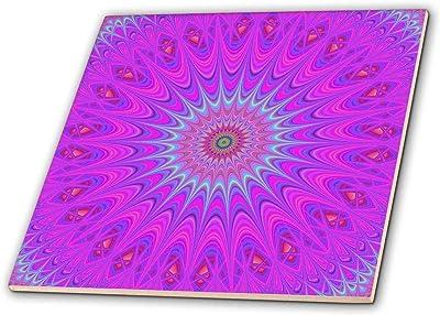 3dRose ct/_42554/_3 White Flowers on Lilac Ceramic Tile 8