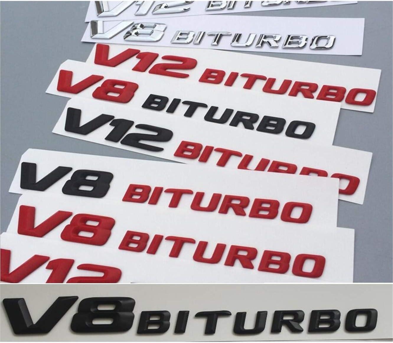 Flat Gloss Black V12 BITURBO Letters Emblems Badge Sticker for Mercedes Benz