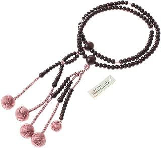 Kyoto-made Ojuzu Buddhist Prayer 108 Beads, Nichiren Shu SGI Type, Rose Quartz and Sidan Wood with Genuine Kyoto Silk Tassel